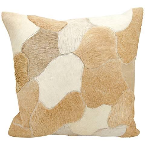 "Nourison Jigsaw Puzzle Leather 20"" Square Beige Pillow"