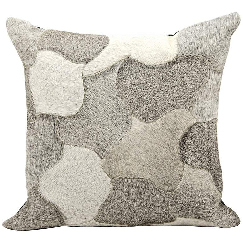 "Nourison Jigsaw Puzzle Leather 20"" Square Silver Pillow"
