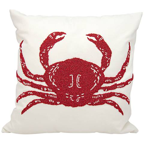 "Nourison Beaded Crab 18"" Square Outdoor Pillow"