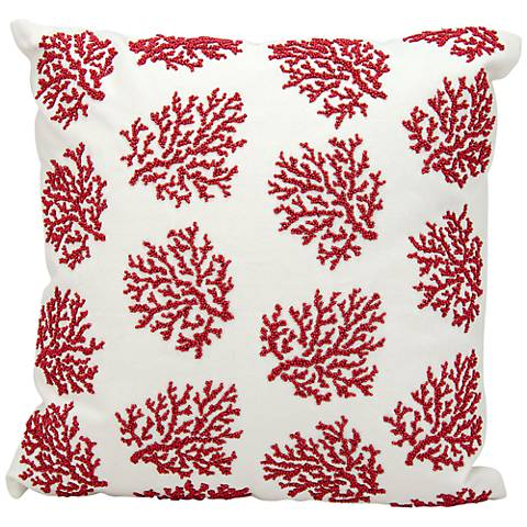 """Nourison Beaded Coral 18"""" Square Outdoor Pillow"""