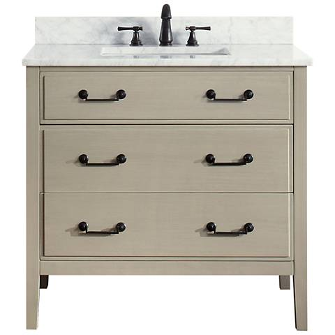 "Avanity Delano Taupe 37"" Carrara-Top Single Sink Vanity"