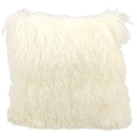 "Mina Victory Tibetan Sheepskin 16"" Square White Pillow"