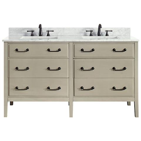 "Avanity Delano Taupe 61"" Carrara-Top Double Sink Vanity"