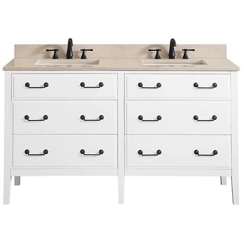 "Avanity Delano White 61"" Galala-Top Double Sink Vanity"