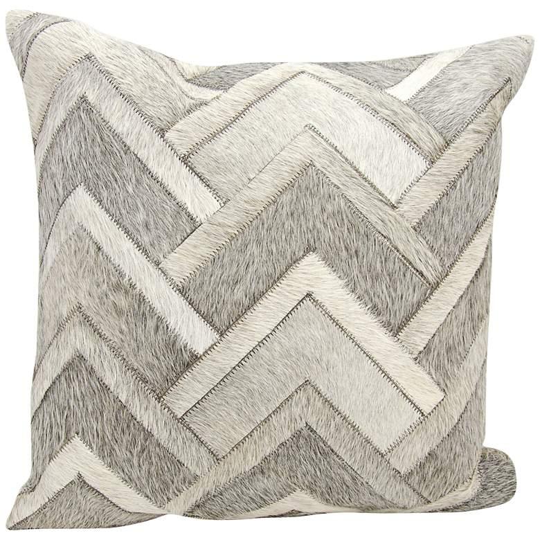 "Nourison Arrowhead Chevron Hide 20"" Square Gray Pillow"