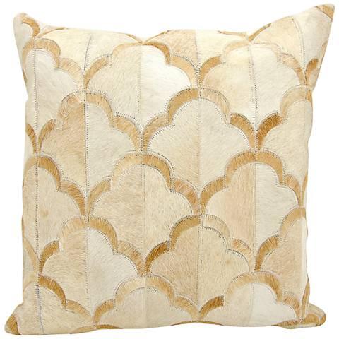 """Nourison Cloud Natural Hide 20"""" Square Beige Pillow"""
