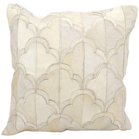"""Nourison Cloud Natural Hide 20"""" Square White Pillow"""