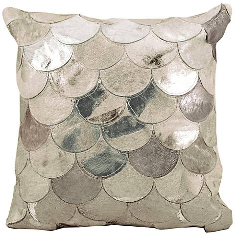 "Nourison Metallic Balloons 20"" Silver Gray Square Pillow"