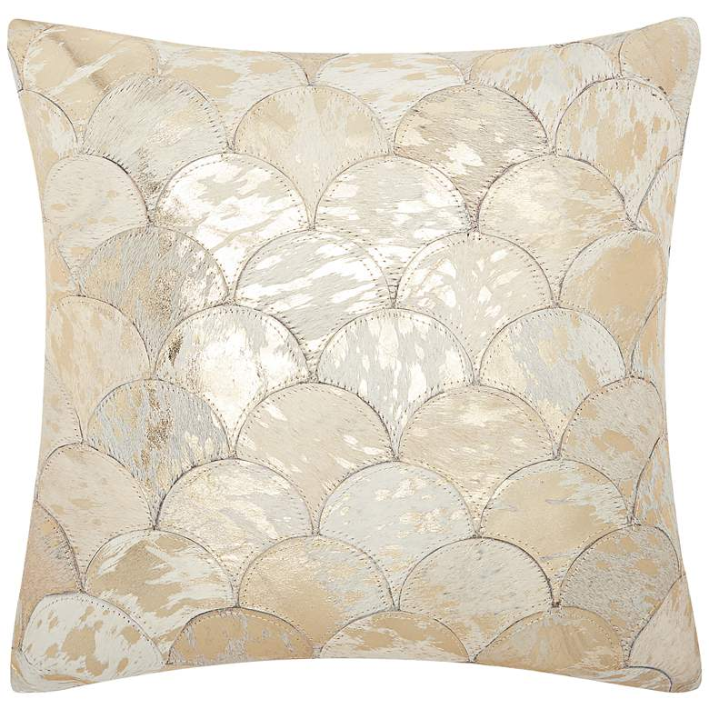 "Nourison Metallic Balloons 20"" Square White Gold Pillow"