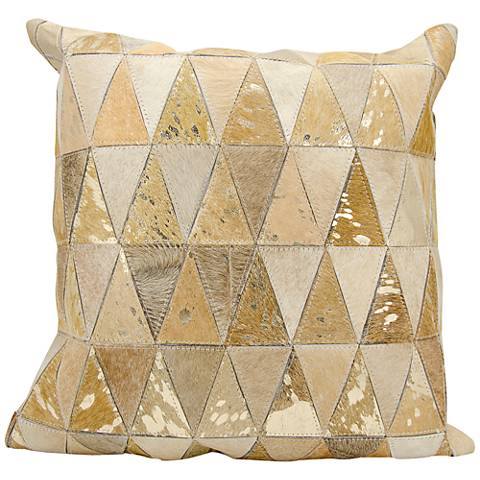 """Nourison Triangles Leather 20"""" Square Beige Gold Pillow"""