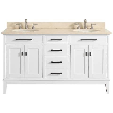 "Avanity Madison 61"" Galala-Top White Double Sink Vanity"