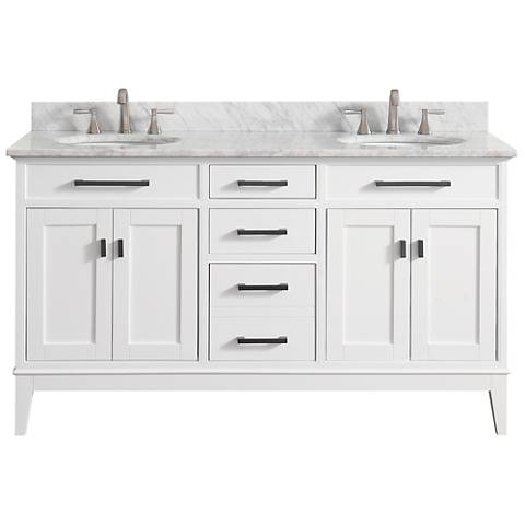 "Avanity Madison 61"" Marble-Top White Double Sink Vanity"