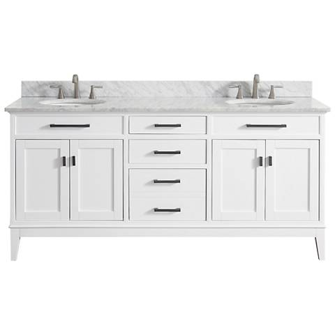 "Avanity Madison 73"" Marble-Top White Double Sink Vanity"