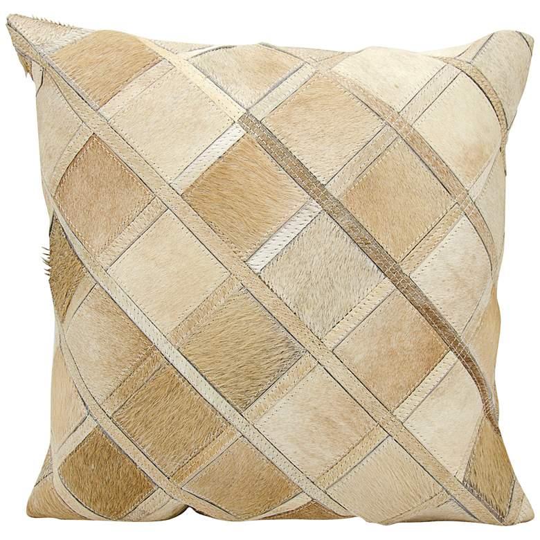 "Nourison Diamonds Leather 20"" Square Beige Pillow"