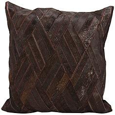 "Nourison Basket Weave Leather 20"" Square Brown Pillow"
