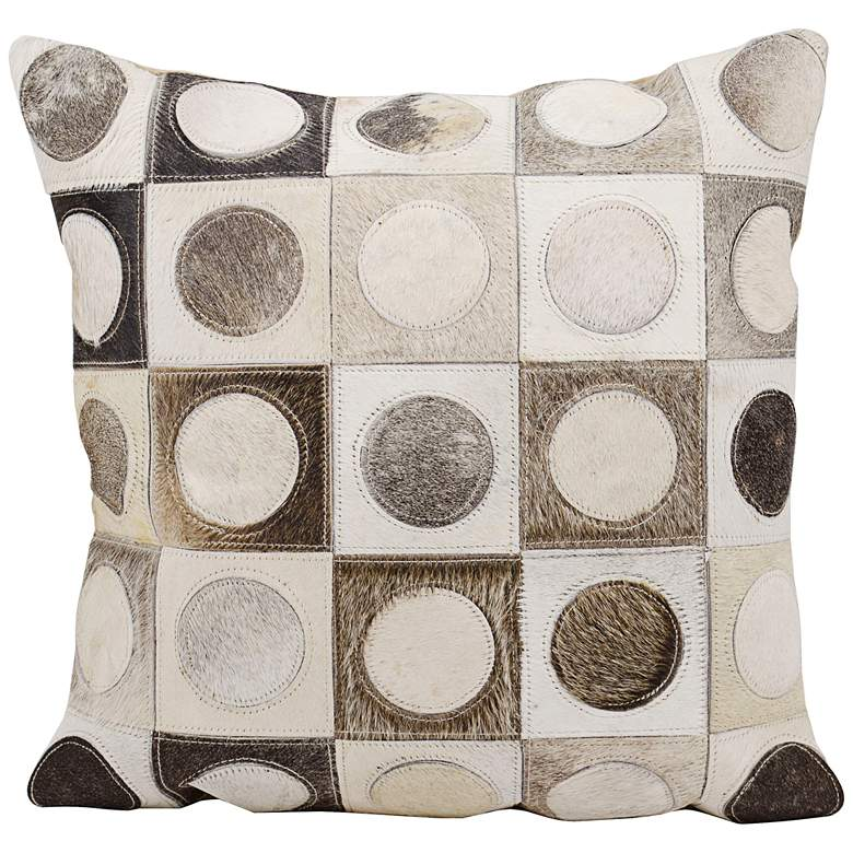 """Nourison Circles in Squares 20"""" Wide Silver Pillow"""