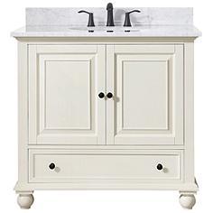 """Avanity Thompson White 37"""" Marble-Top Single Sink Vanity"""