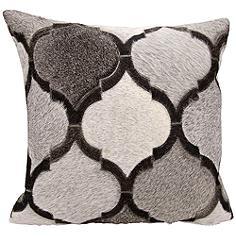 """Nourison Lantern Design 20"""" Square Silver Gray Pillow"""