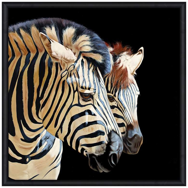 """Zebras 39"""" Square Endangered Animal Print Framed Wall Art"""