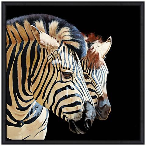 "Zebras 39"" Square Endangered Animal Print Framed Wall Art"