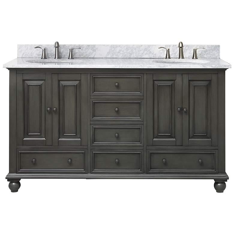 "Avanity Thompson Charcoal 61"" Marble Double Sink Vanity"