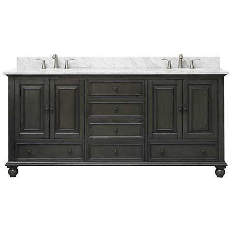 "Avanity Thompson Charcoal 73"" Marble Double Sink Vanity"