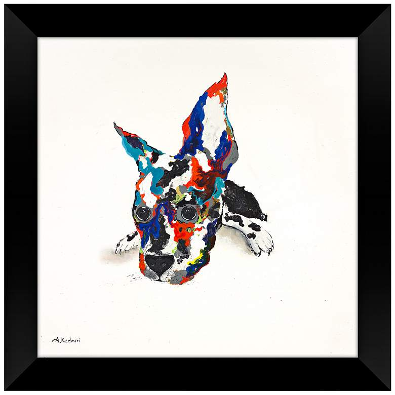 "Multi-Colored Adorable 28"" Square Puppy Framed Wall Art"