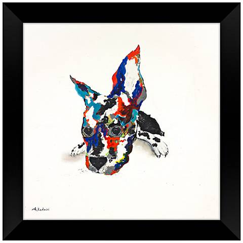"""Multi-Colored Adorable 28"""" Square Puppy Framed Wall Art"""