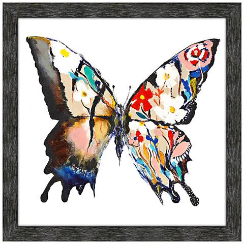 "Stained Glass Butterfly 42"" Square Framed Wall Art Print"