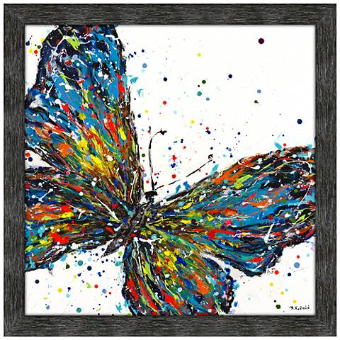 "Confetti Butterfly 42"" Square Framed Wall Art Print"