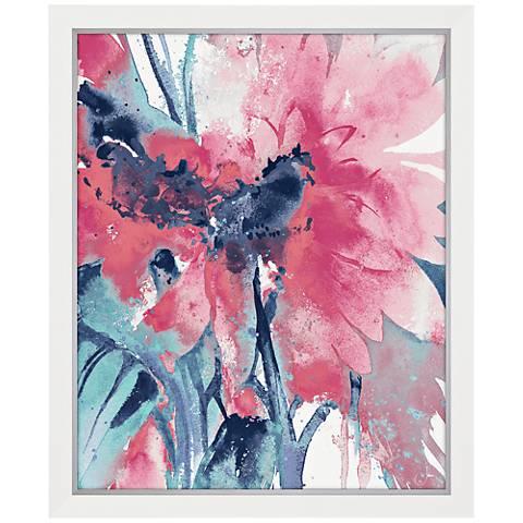 """Pop Of Pink 46"""" High Flower Blossom Print Framed Wall Art"""