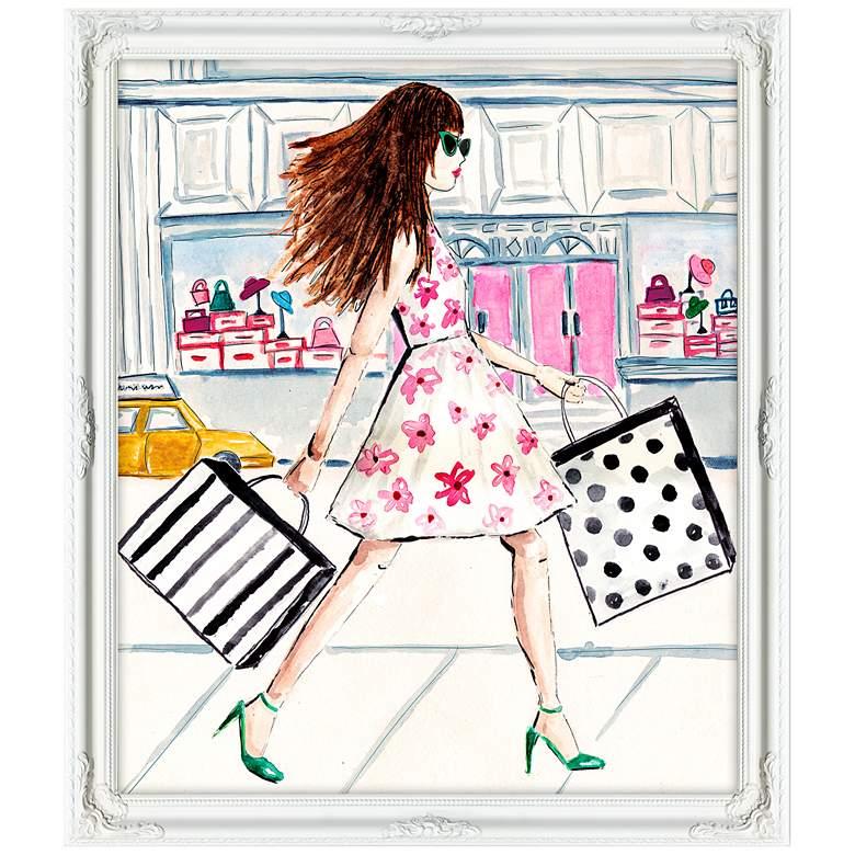 "Bagging It 32"" Wide Illustrated Feminine Framed Wall Art"