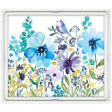 "Peek-A-Blue 32"" Wide Illustrated Framed Floral Wall Art"