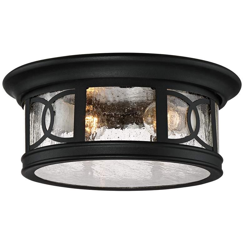 """Capistrano 12"""" Wide Black 2-Light Outdoor Ceiling Light"""