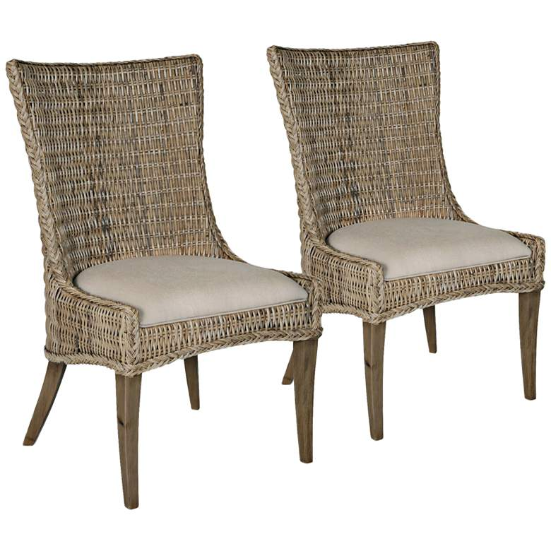 New Wicker Greco Wicker and Mahogany Dining Chair Set of 2