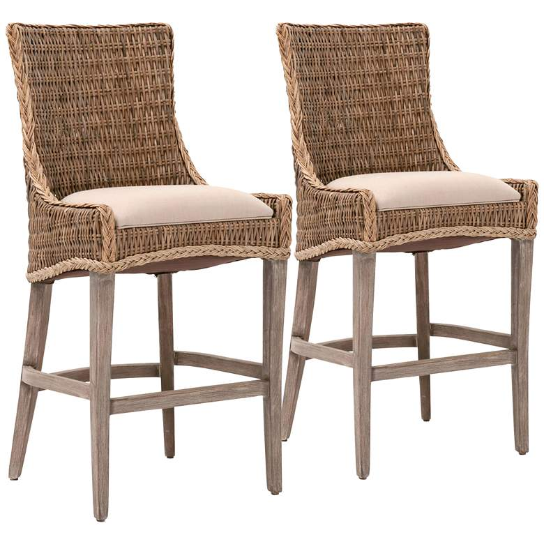 New Wicker Greco Gray Wicker and Mahogany Barstool