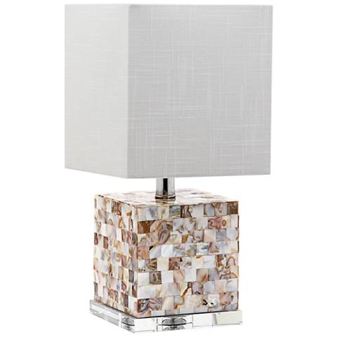 "Giavone Square Block 16""H Mother of Pearl Accent Table Lamp"