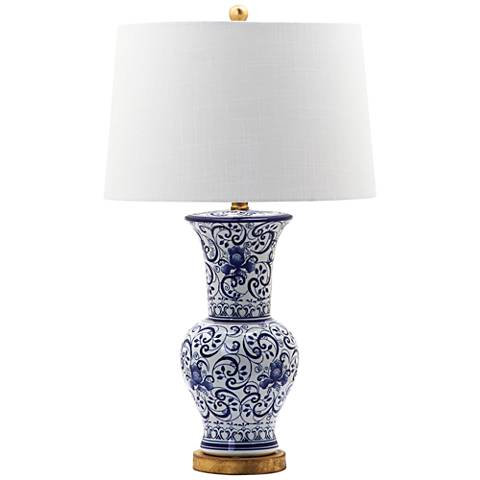 Norham Blue and White Vase Scroll Ceramic Table Lamp