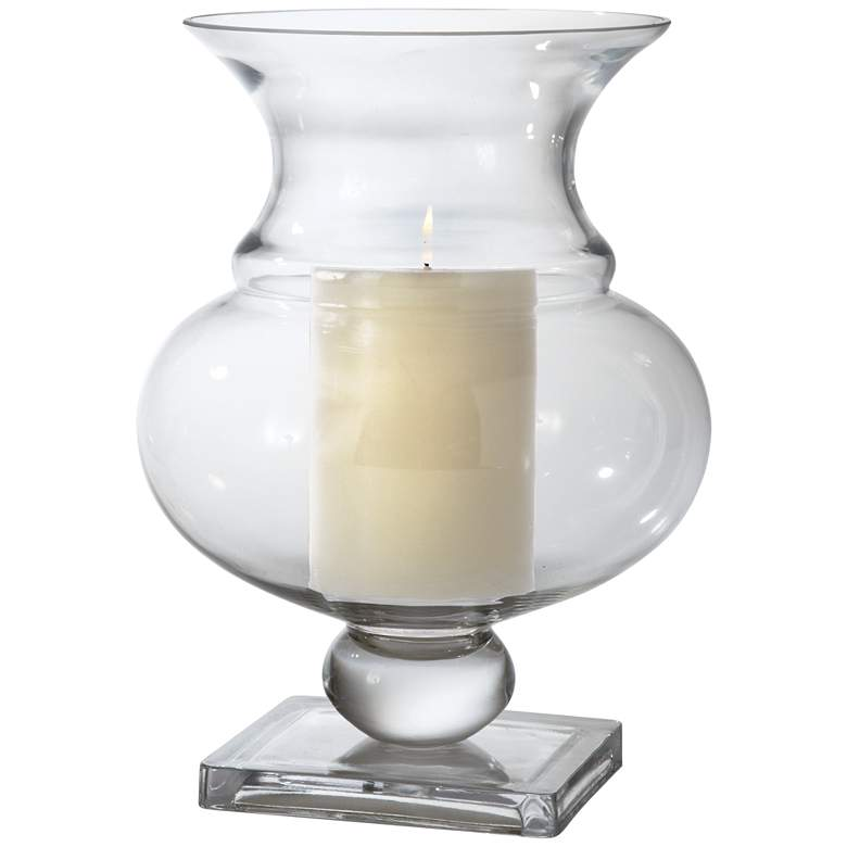 """Charleston Clear Glass 13 1/2"""" High Vase Candle Holder"""