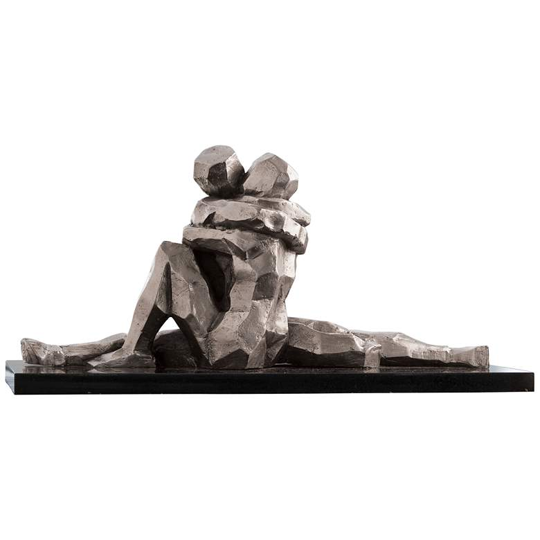 "The Kiss 18"" Wide Silver-Nickel Tabletop Sculpture"