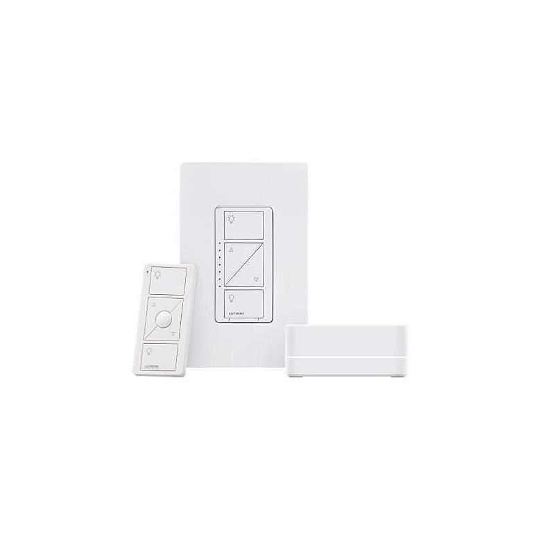 Caseta White Wireless Dimmer Kit with Bridge