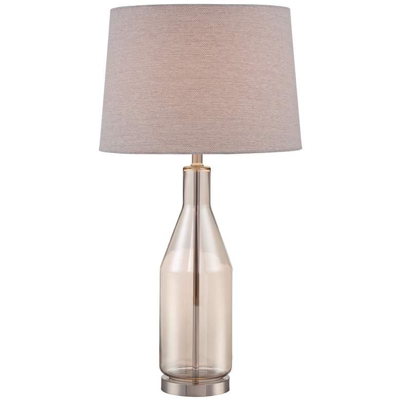Lite Source Basir Light Amber Glass Bottle Table Lamp