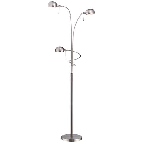 Lite source denzel steel 3 light reading arc floor lamp