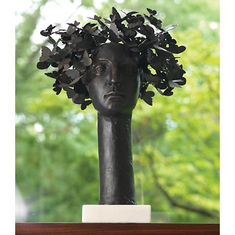 """Butterflies For Brains 23 1/2""""H Cast Iron Bust Sculpture"""