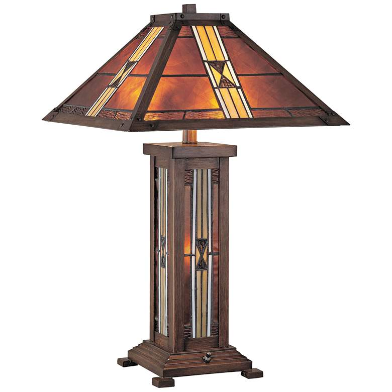 Lite Source Farah Bronze Nightlight Art Glass Table