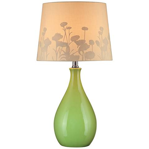 Lite Source Edaline Silhouette Green Teardrop Table Lamp