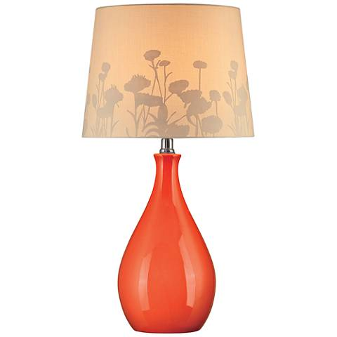 Lite Source Edaline Silhouette Orange Teardrop Table Lamp