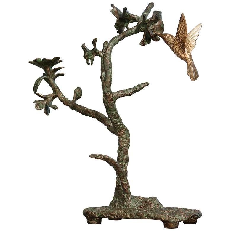 "Hummingbird 15 1/4"" High Verdi and Gold Bird Sculpture"