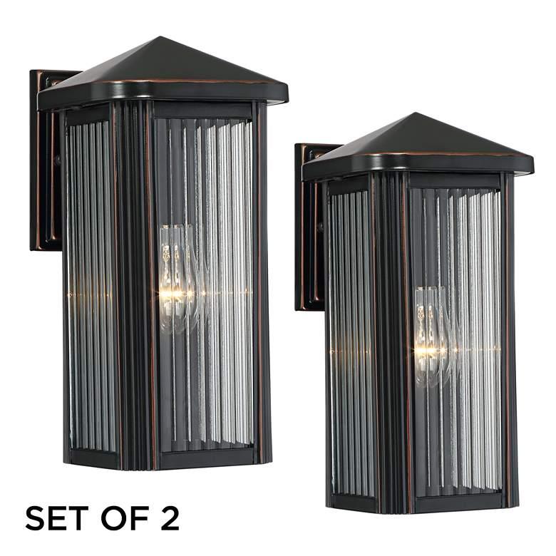 """Burton 12"""" High Bronze Outdoor Wall Lights Set of 2"""