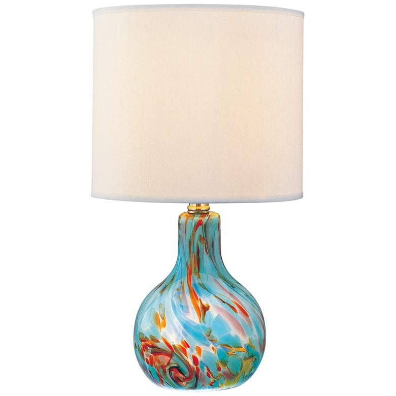 "Lite Source 14 1/2"" High Pepita Aqua Glass Accent Table Lamp"
